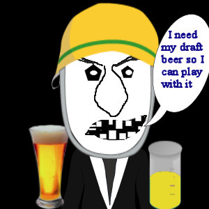 Uncle Bufford cartoon image drinking a  beer